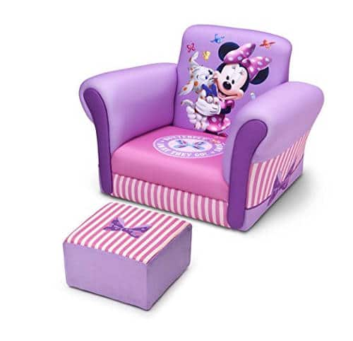 minnie mouse recliner chair office adjustable arms reviews top 2 kids disney themed chairs delta children s with ottoman