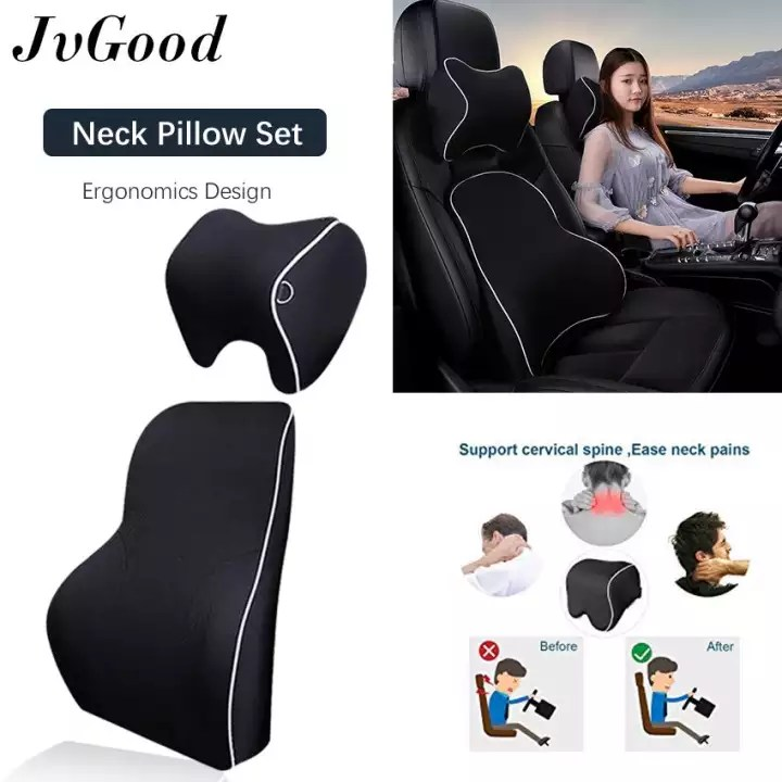 jvgood car seat pillow 2 in 1 neck pillow back cushion memory foam lumbar support cushion for neck pain relief cervical pillow fit for auto car office