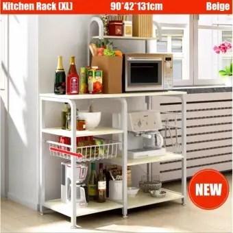 kitchen shelf renovation financing rack storage organizer holder adjustable movable shelving cabinet microwave oven stand wheel trolley household essential lazada singapore