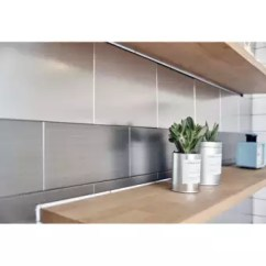 Kitchen Wall Tile Stainless Steel Ver Block Peel And Stick Diy Interior Backsplash Bathroom Tiles 10cm X 20cm Pack Of 5 Check Silver Intl