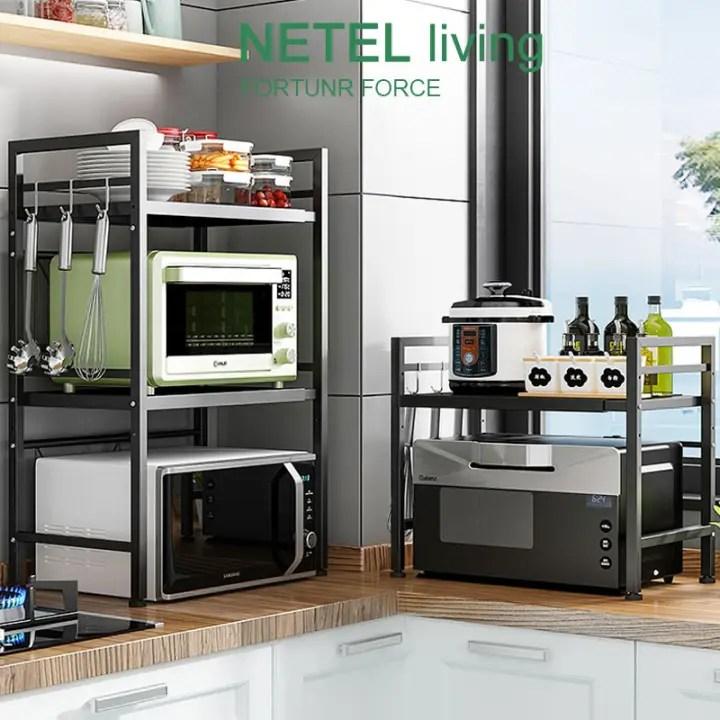 netel kitchen organizer microwave oven rack expandable and height adjustable kitchen storage shelf 1 2 tier kitchen cabinet storage rack shelf