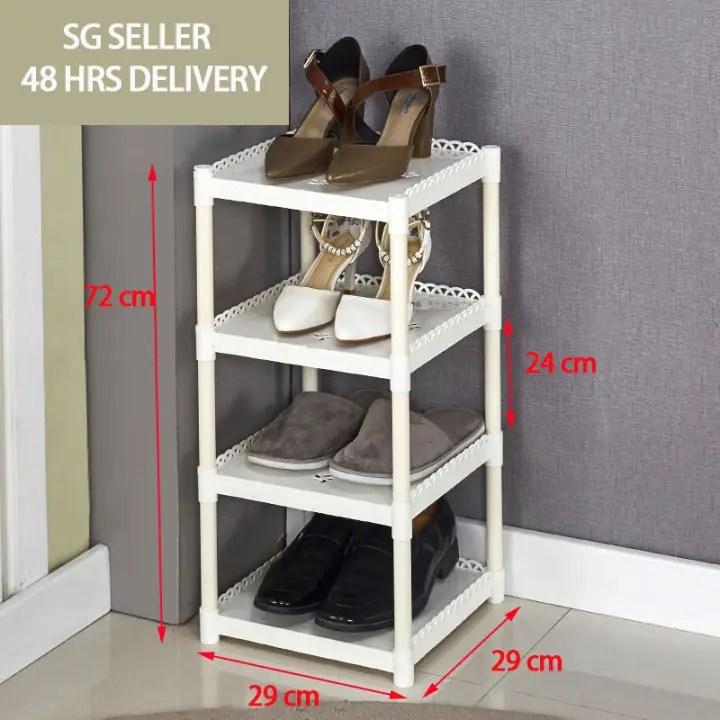 sg seller 48 hrs delivery 4 tiers vertical shoe rack narrow shoe shelf space saving shoe organizer shoe storage cabinet for entryway door