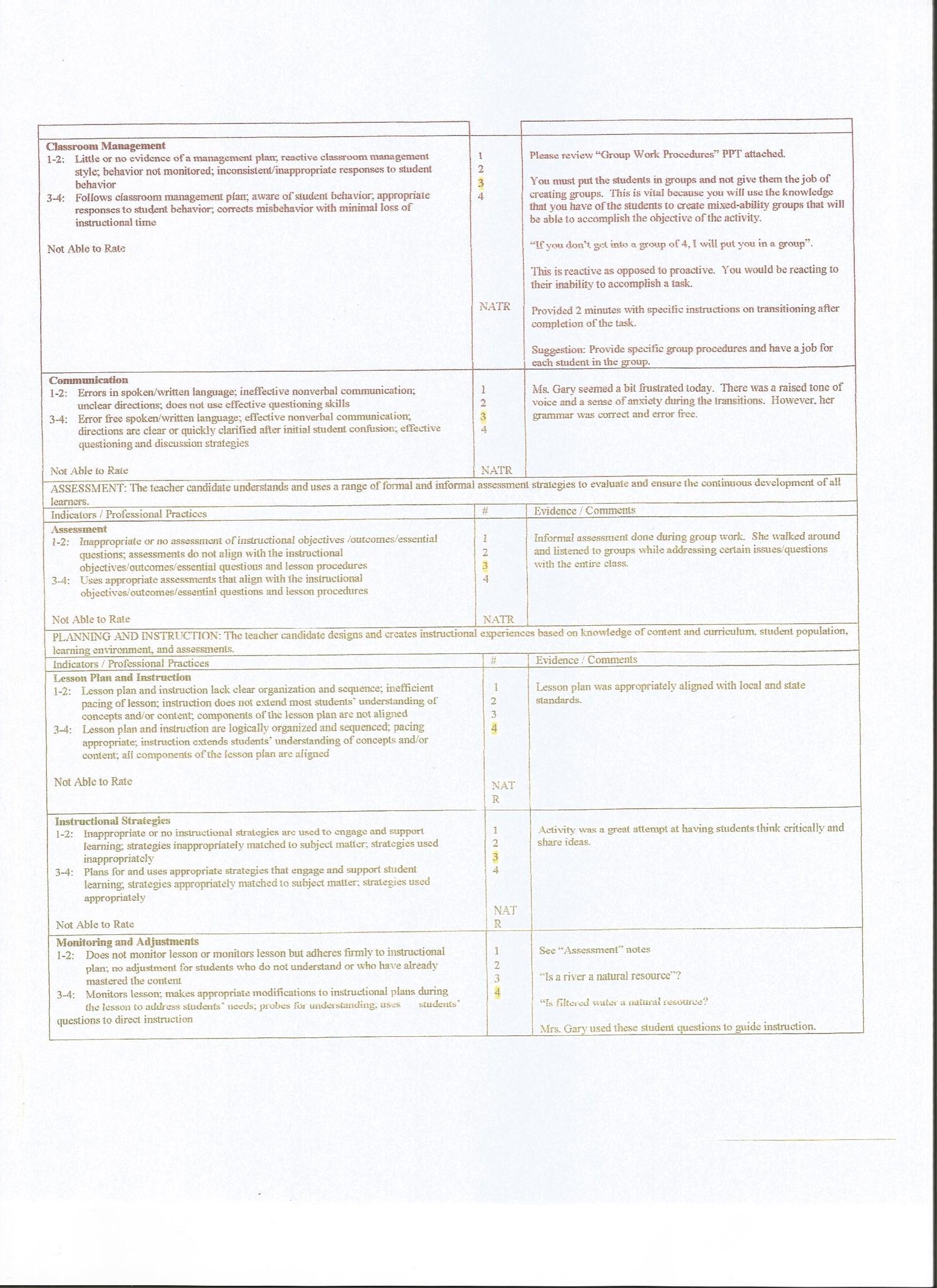 University Supervisor Observations and Mentor Teacher