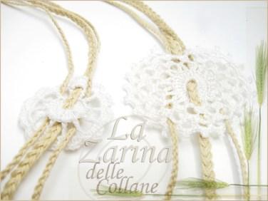 collana centrini, collana uncinetto, collana alternativa, stile coloniale, collana naturale,