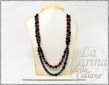 collana nera, collana nero rosso, collane per tutti i giorni, collane classiche, pietre nere,