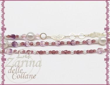 catena cuori, perle bianche e cristalli, collana con catena, collane trendy, gioielli trendy,