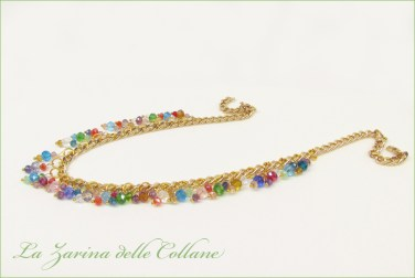 collana cristallini catena multicolor