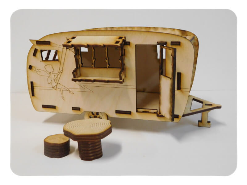 Wood Model Fairy Garden Trailer Kit By-LazerModels