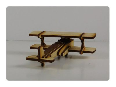 Wood Model Mini Biplane Puzzle Kit By-LazerModels
