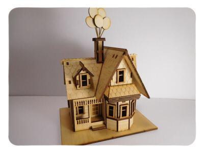 Wood Model Up House Kit By-LazerModels