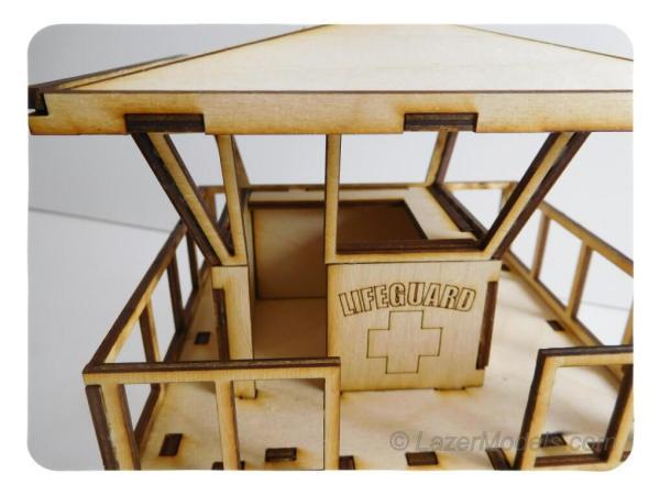 Wood Model Lifeguard Tower Kit By-LazerModels