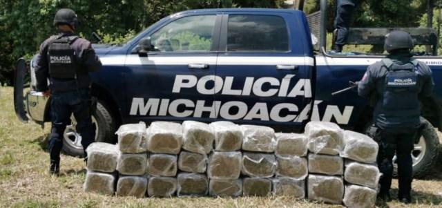 En acción operativa, decomisa SSP 130 kilos de droga, en Zitácuaro