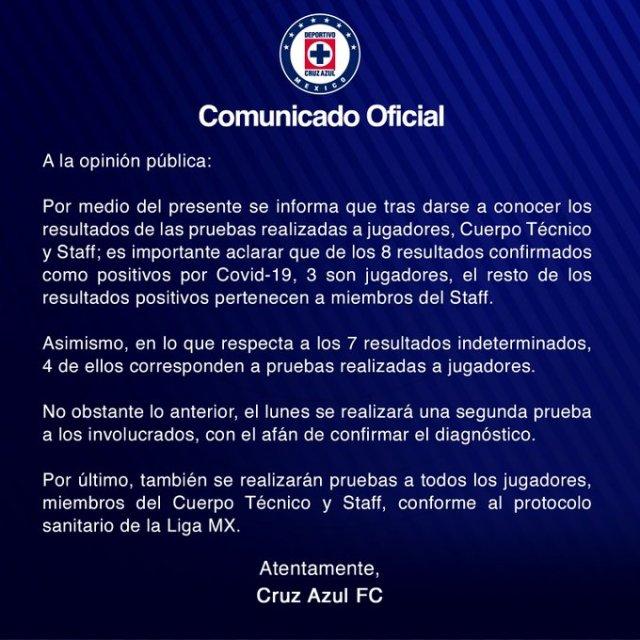 Cruz Azul confirma: tres futbolistas con Covid-19; cuatro sospechosos
