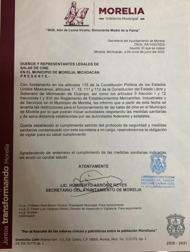 Avala Gobierno de Morelia reapertura de salas de cine