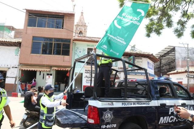 Con Bandera Verde, realiza SSP medidas preventivas contra el COVID-19 en Coeneo