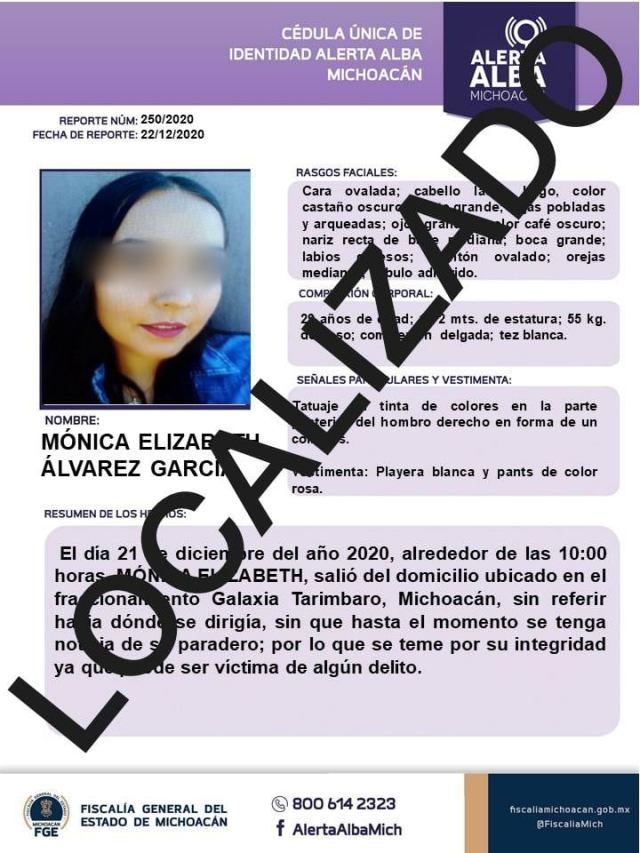 Desactiva Fiscalía General Alerta Alba; es localizada joven reportada como desaparecida