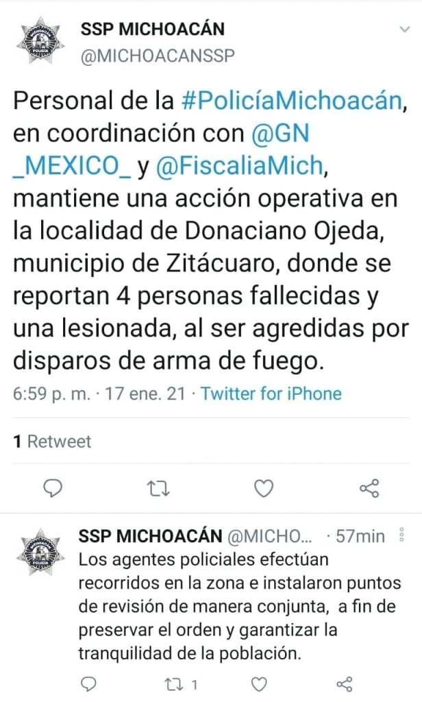 Se registra multihomicidio en el municipio de Zitácuaro