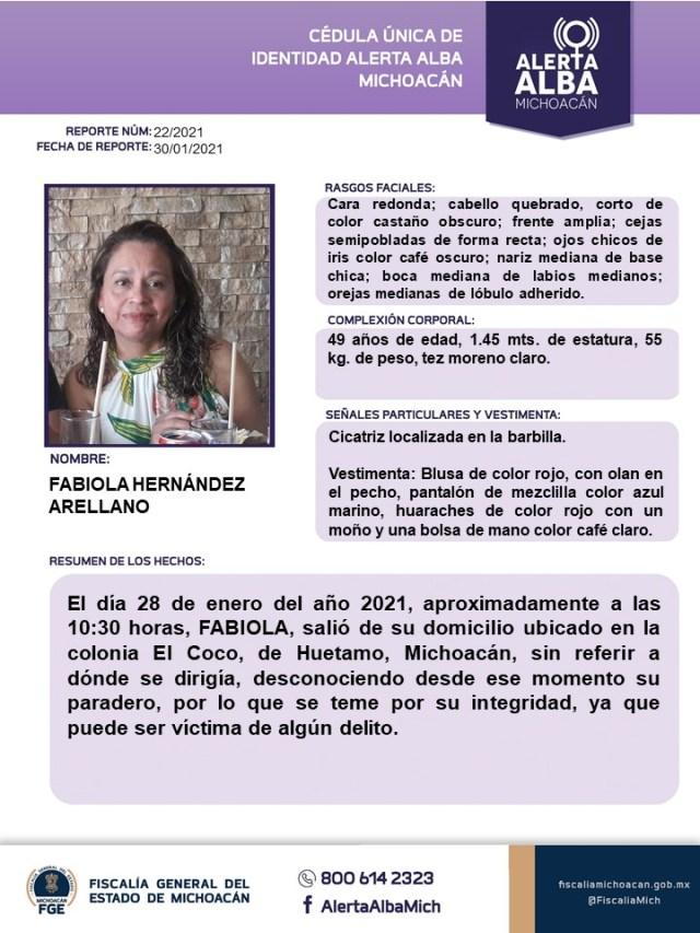 Localiza Fiscalía General a mujer reportada como desaparecida en Huetamo
