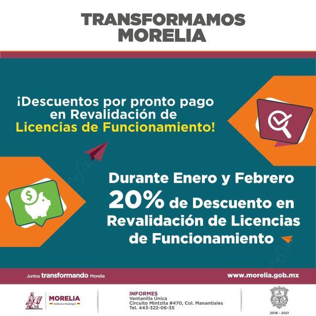 Mantiene Gobierno de Morelia descuento en renovación de licencias municipales