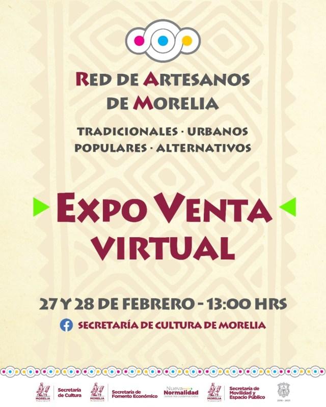 SeCultura invita a Expo Venta Virtual de la Red de Artesanos de Morelia