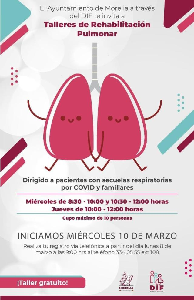 Promueve DIF Morelia rehabilitación gratuita a pacientes con secuelas respiratorias por COVID-19