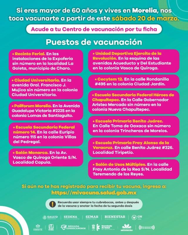 Tendrá Morelia 11 Centros de Vacunación contra COVID-19
