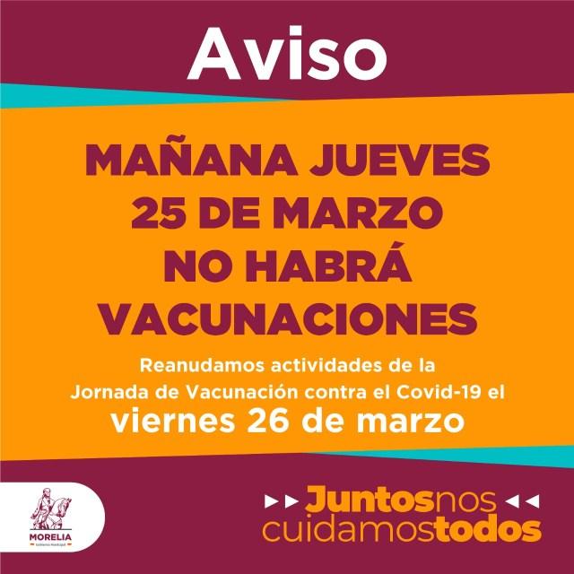 Anuncia ayuntamiento suspensión para mañana de vacunación anticovid