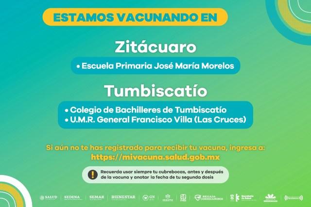 Se mantiene activa la  vacunación anti COVID-19 en Zitácuaro y Tumbiscatío
