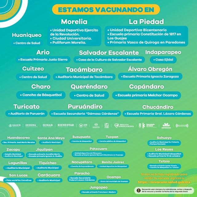 En operación 47 puestos de vacunación anti COVID-19 en 34 municipios