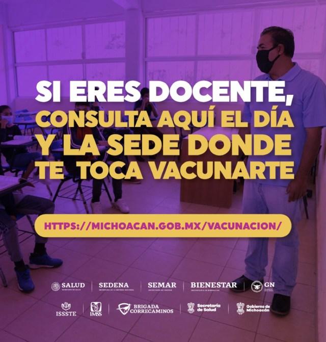Habilitan otro portal para que maestros agenden su cita de vacunación contra COVID-19