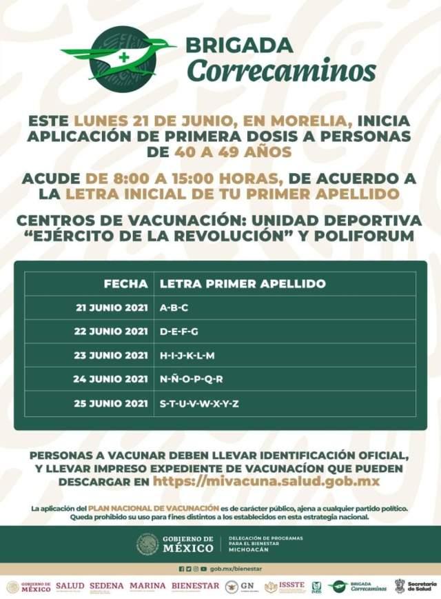 Inicia el lunes vacunación 40 a 49 en Morelia