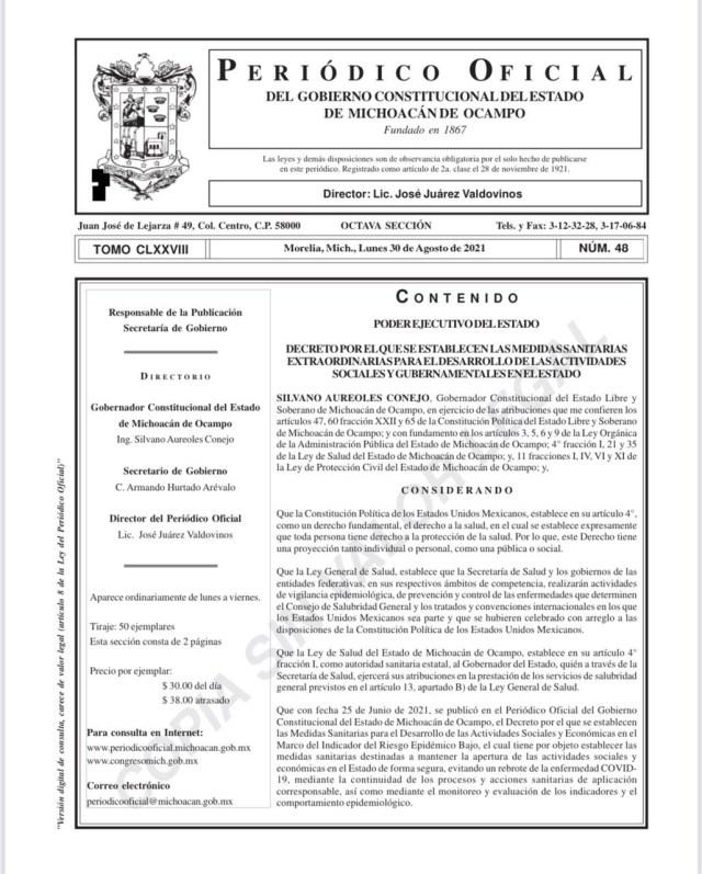 Emite Gobierno del Estado decreto sobre suspensión de Fiestas Patrias