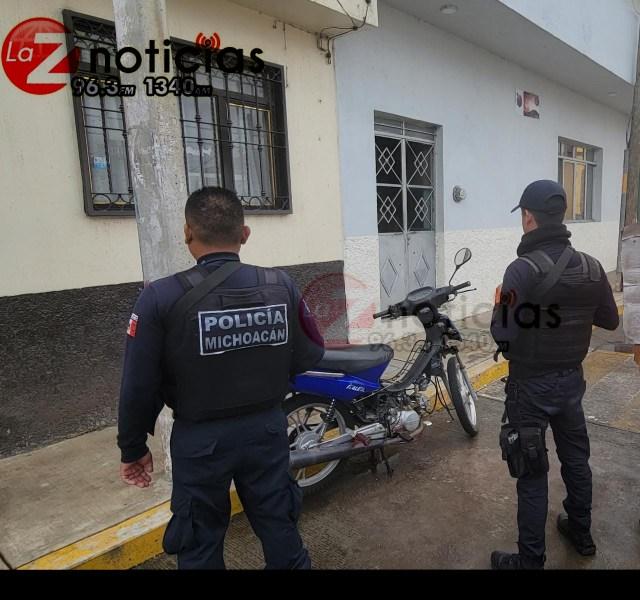 Policías aseguran motocicleta semidesvalijada y con alteraciones en sus medios de identificación