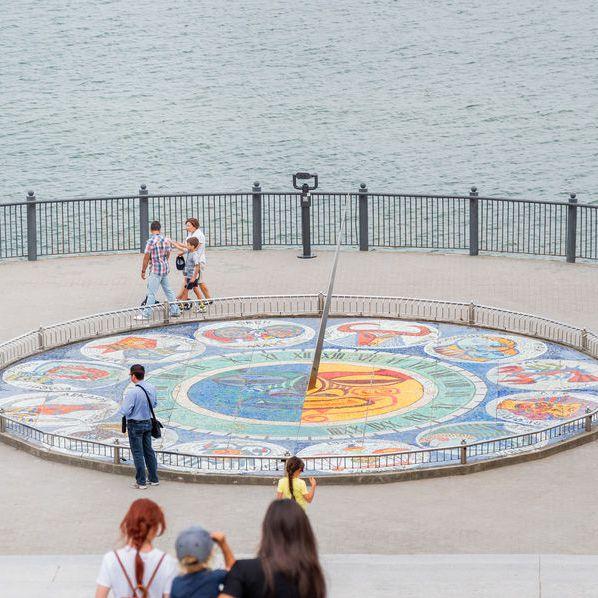 Mosaic Sun Dial Zodiac Art Landmark of sea embankment of Svetlogorsk