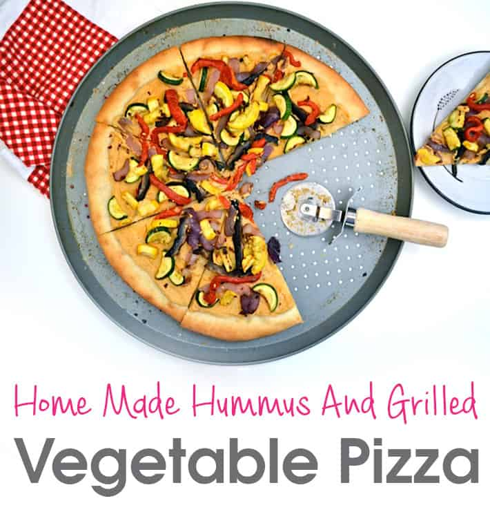 Home Made Hummus And Grilled Vegetable Pizza