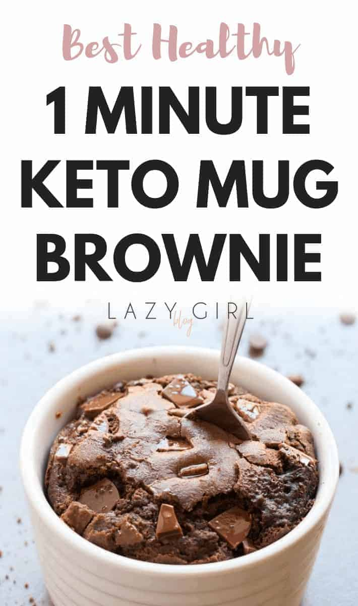 "Healthy Keto Mug Brownies don't get better than this! This easy 1-minute mug brownie recipe is a low carb game changer. It takes practically no time to make, it's legitimately as delicious as the ""real"" thing. #ketomug #bestketodessert #lowcarbdesert #1minutemugcake"
