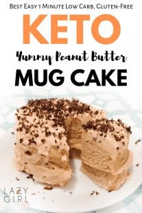 This easy peanut butter mug cake is fudgy, moist, sugar-free, grain-free, gluten-free, low carb microwave dessert recipe takes less than 5 minutes from start to finish. It doesn`t just taste great but also look soo elegant and beautiful. #ketomugcake #peanutbuttermugcake #1minuteketomugcake #ketopeanutbuttermugcake #ketorecipe #easyketodessert