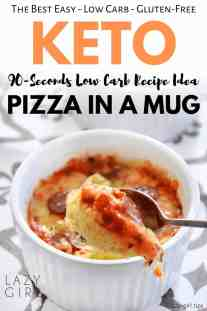 90-Seconds Keto Pizza In A Mug - Quick And Easy Low Carb Recipe Idea.