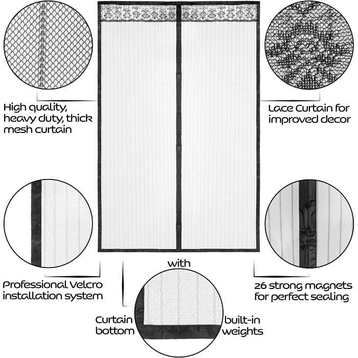 lazy monk magnetic mesh screen door screen door curtain for doorway