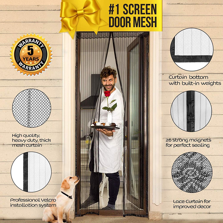 Lazy Monk Magnetic Mesh Screen Door - Screen Door Curtain for doorway