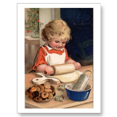 vintage_christmas_girl_baking_cookies_postcard-p239209788250867033z85wg_400