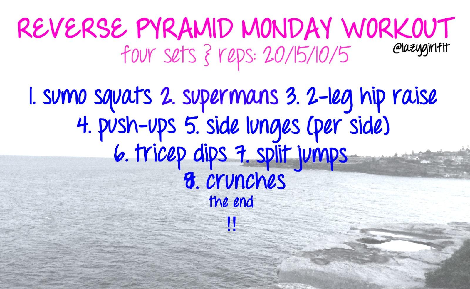Reverse Pyramid Bodyweight Workout - Lazy Girl Fitness