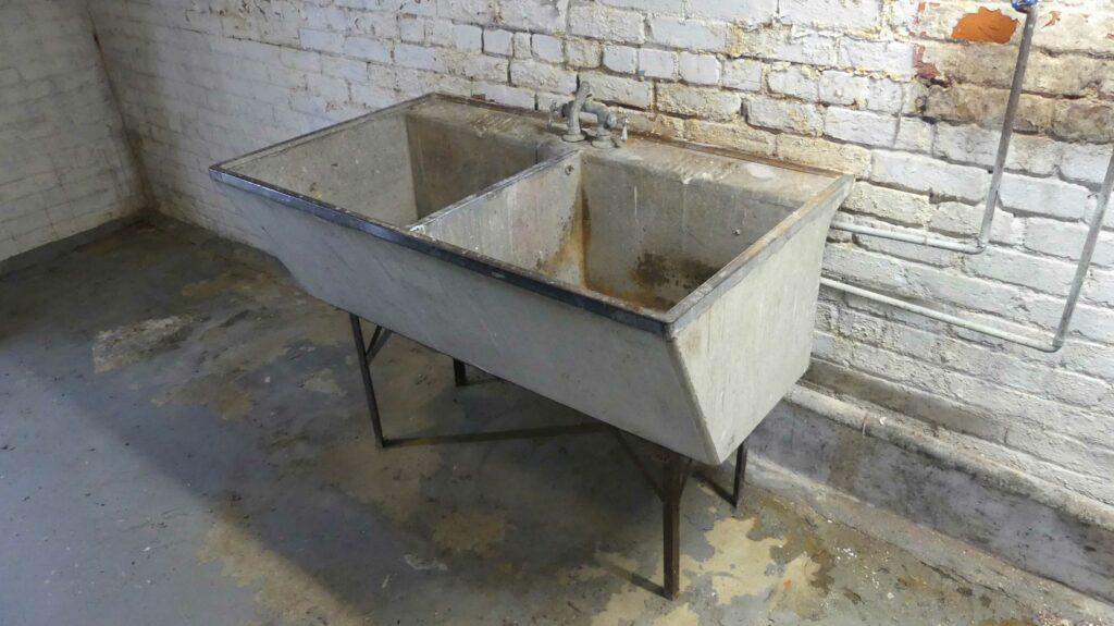 restore a vintage concrete laundry sink