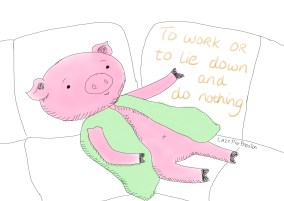 procrastination pig lazy