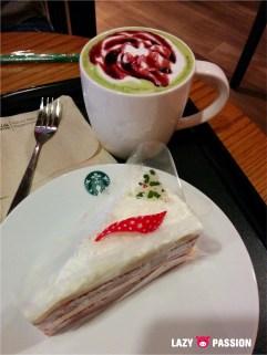 Velvet cake and macha latte