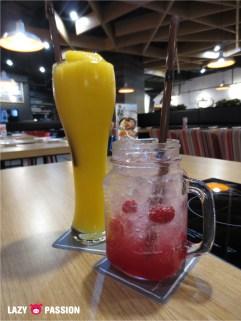mango ice, raspberry soda