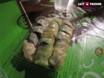 cabbage wraps with meat, surimi sticks, eggs?