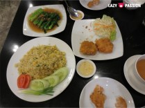 gailan, fried rice, deep fried shrimp cake
