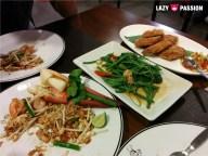 pad thai, greens, shrimp fried patties