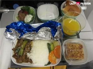 EVA air meal, beef rice